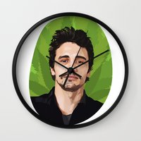 james franco Wall Clocks featuring James Franco by WeedPornDaily