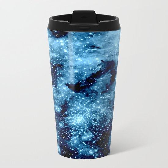 Blue Galaxy Nebula Metal Travel Mug