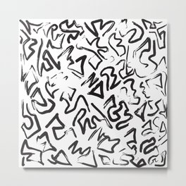 Modern Black White Abstract Graffiti Brushstrokes Metal Print