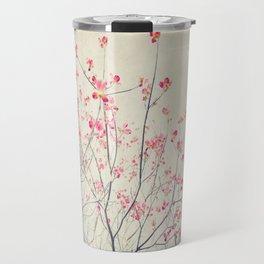 Ruby and Rose Quartz -- Red Pink Dogwood Tree in Flower Travel Mug