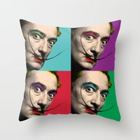 salvador dali Throw Pillows featuring Salvador Dali  by mark ashkenazi