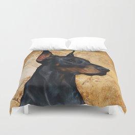 Black and Gold ( Doberman dog ) Duvet Cover