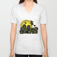 Pumpkins and witch in front of a full moon Unisex V-Neck