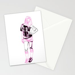 English girl in New York Stationery Cards