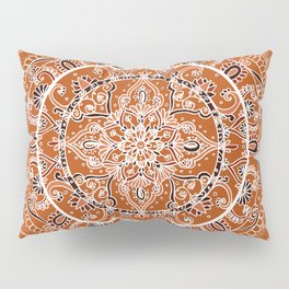 Detailed Burnt Orange Mandala Pillow Sham