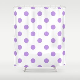 Polka Dots - Light Violet on White Shower Curtain