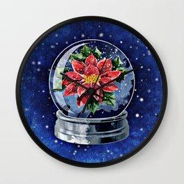 Poinsettia in a Snow Globe Wall Clock