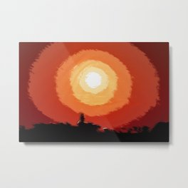 Stunning fiery sunset in the city, silhouettes of the buildings Metal Print