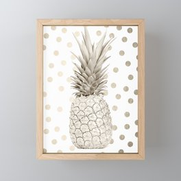 Gold Pineapple Polka Dots 1 Framed Mini Art Print