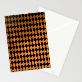 Black Orange Diamonds Stationery Cards