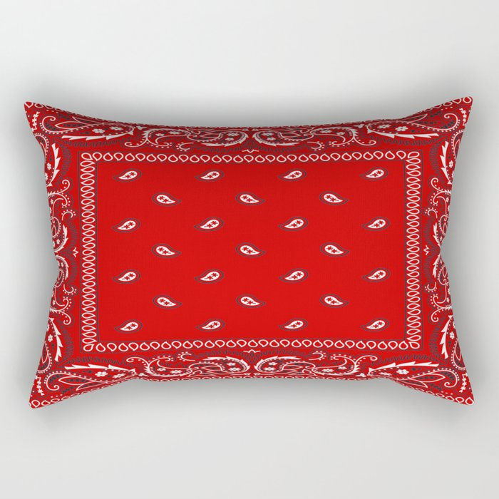 Paisley - Bandana - Red - Southwestern - Boho Rectangular Pillow