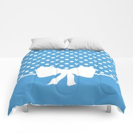 Dots dip-dye pattern with cute bow in blue Comforters