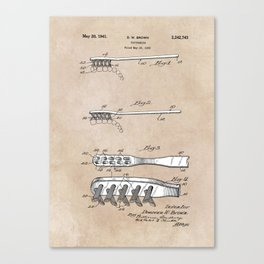 patent art Brown Toothbrush 1939 Canvas Print