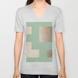 Simply Geometric White Gold Sands on Pastel Cactus Green Unisex V-Neck