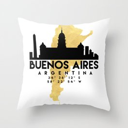 BUENOS AIRES ARGENTINA SILHOUETTE SKYLINE MAP ART Throw Pillow