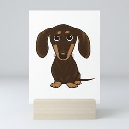 Chocolate Dachshund | Cute Cartoon Wiener Dog Mini Art Print
