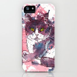 Cat painting, lavender colors, beautiful pet portrait iPhone Case