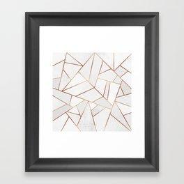 White Stone & Copper Lines Framed Art Print
