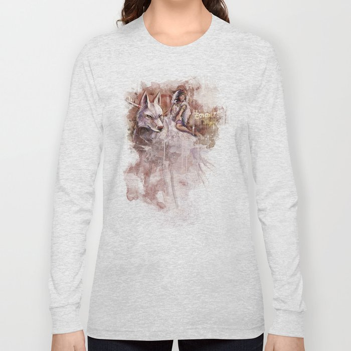 Miyazaki's Mononoke Hime - San and the Wolf TraDigital Painting Long Sleeve T-shirt