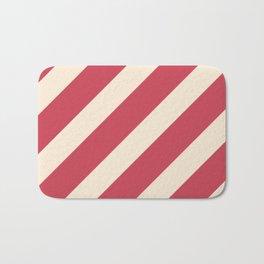 Antique White and Brick Red Stripes Bath Mat