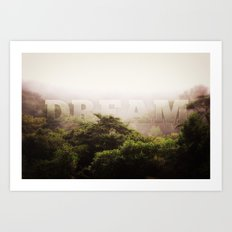 Dream Cloud Forest Hazy Typography Landscape Volcano Art Print