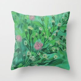 Flowers For Bumblebee, Summer Wildflowers Simple Floral Botanical Throw Pillow