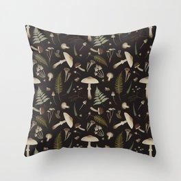 Mushroom pattern 1 black Throw Pillow