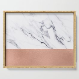 Marble Rose Gold Luxury iPhone Case and Throw Pillow Design Serving Tray