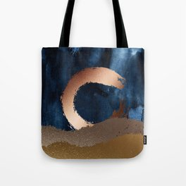 Navy Blue, Gold And Copper Abstract Art Tote Bag