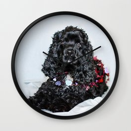 Valentine Puppy Photography Print Wall Clock
