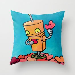 Robot - Fill Up Your Heartbox Throw Pillow