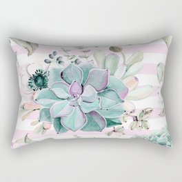 Succulents in the Garden Pink Stripes Rectangular Pillow