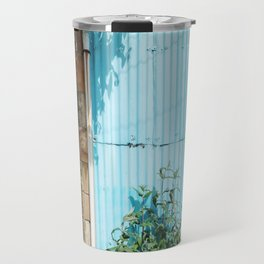 Blue Corrugated Metal and Plant Life Against a Glasgow Tenement Building Travel Mug