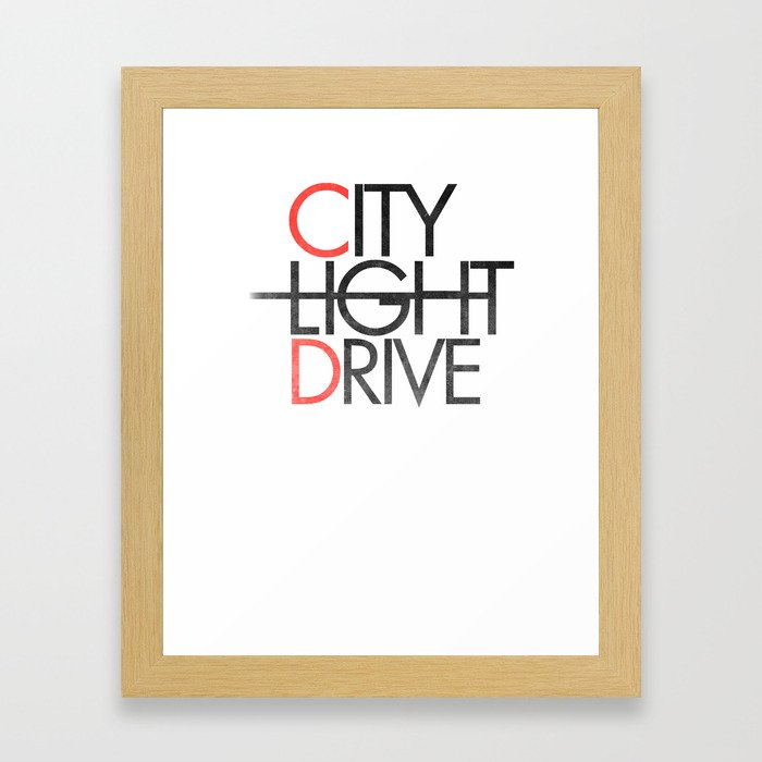 City Light Drive Framed Art Print