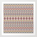 Aztec Essence Pattern II Red Blue Gold Cream by nataliepaskell