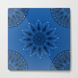 Central Mandala Blue Lapis Metal Print
