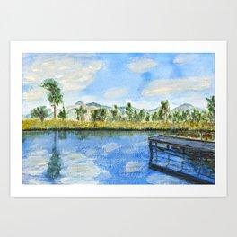 wooden bridge on a lake Art Print