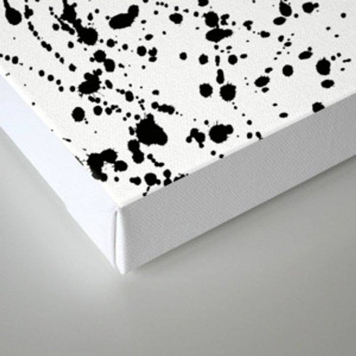 Splat Black on White Canvas Print