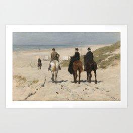 Anton Mauve - Morning Ride along the Beach(Scheveningen) (1876) Art Print