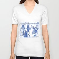 blueprint V-neck T-shirts featuring MY LITTLE SISTER BLUEPRINT by Sofia Youshi
