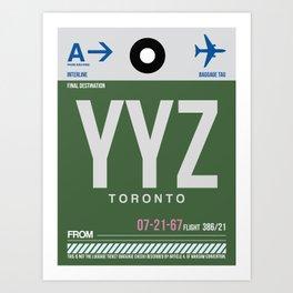 YYZ Toronto Luggage Tag 1 Art Print