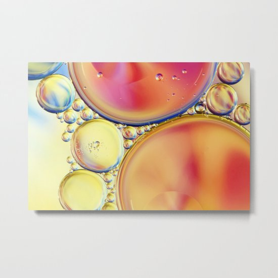 Candy Coloured Oil & Water Drops Metal Print