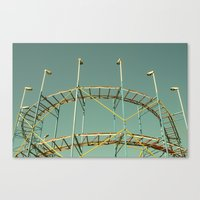 coasters Canvas Prints featuring rollercoaster by Bianca Green