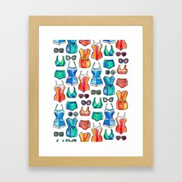Sixties Swimsuits and Sunnies on white Framed Art Print