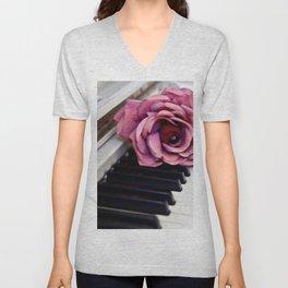 Piano Keys With Rose Unisex V-Neck