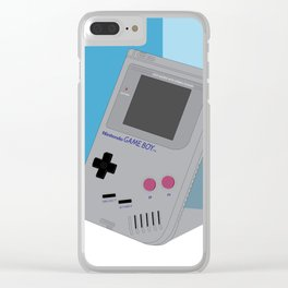 Gameboy Illustration Baby Blue Clear iPhone Case