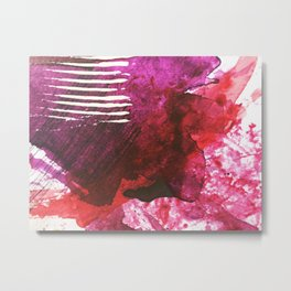 You set me on fire: a vibrant, colorful mixed media piece in red, purple, black and white Metal Print