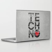 springsteen Laptop & iPad Skins featuring I love Techno by Sitchko Igor