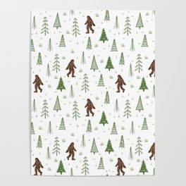 trees + yeti pattern in color Poster