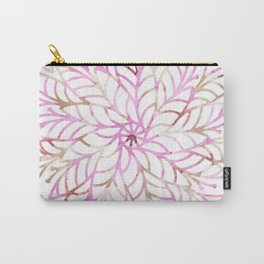 Girly blush pink brown watercolor floral mandala Carry-All Pouch